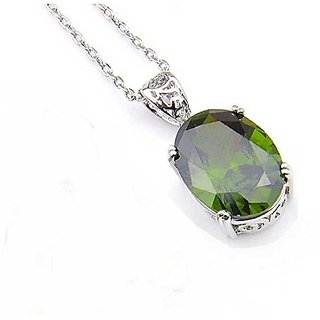 Peridot drop Crown Pendant in 7 carat Silver without chain by ratan bazaar