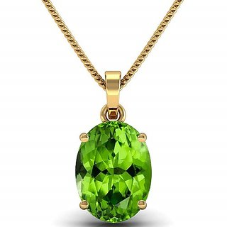 100% Natural 7 carat Peridot Gold Plated Pendant without chain by Ratan Bazaar