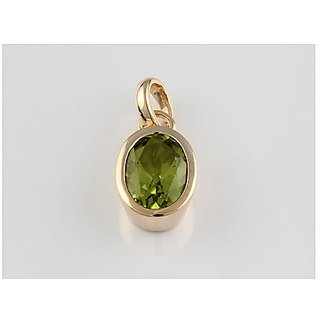 7 ratti Natural Lab certified Stone Gold Plated Peridot Pendant without chain by Ratan Bazaar