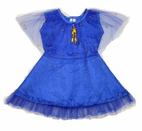 BABY GIRLs DRESS FRILL FROCK (6 TO 18 MONTHS) Blue Colour with Latkan