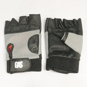 Gas Macho Cotton with Leather and Net Exercise Fitness Half-Finger Gloves (Green)