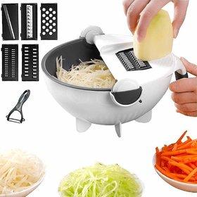 Shopper52 Plastic Multicolor Magic Rotate Vegetable Grater  Slicer With Drain Basket