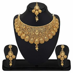 Kord Store Traditional Gold Plated Wedding Jewellery Choker Necklace Set For Women