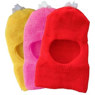 Kids Cap Monkey Style For Winter Season 3pcs Multicolor Up To 2 Years Kids