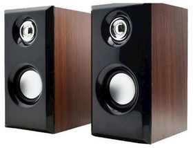 Azonmart Portable Laptop/Desktop USB Powered Multimedia Wooden Speaker with AUX Input (Black)