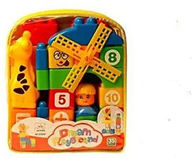 Varna Dream Playground Educational Building Blocks Set (35 Pcs) Best Gift Toys With Bag Packing And Cartoon Figures