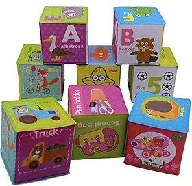 Varna Baby Learning Education Soft Toys Alphabet Dice Cube Toy Set Of 8 Pcs