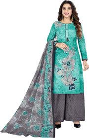 Drapes Women's Blue Cotton printed Dress Material (Unstitched) DF2598