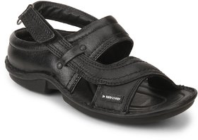 Red Chief Black Men Casual Leather Velcro Sandal (RC0247)