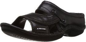 Red Chief Black Men Casual Leather Slip-on Sandal (RC0248)