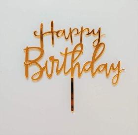SURSAI Mirror Golden Happy Birthday Cake Topper for Birthday Decoration Happy Birthday Cake Decoration (Pack of 1)