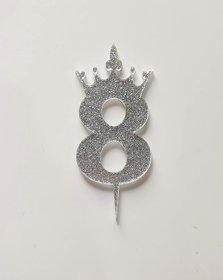SURSAI Silver Zari With Crown Design 8 Number Cake Topper for Decoration No.8 Cake Topper Pack of 1
