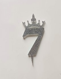 SURSAI Silver Zari With Crown Design 7 Number Cake Topper for Decoration No.7 Cake Topper Pack of 1