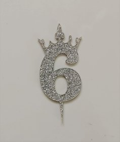 SURSAI Silver Zari With Crown Design 6 Number Cake Topper for Decoration No.6 Cake Topper Pack of 1