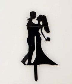SURSAI Black Couple Dancing Design Cake Topper for Cake Decoration Pack of 1