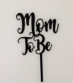 SURSAI Black MOM TO BE Cake Topper for Decoration Pack of 1