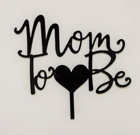 SURSAI Black Heart Design MOM to BE Cake Topper for Decoration Pack of 1