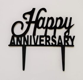 SURSAI New Black Happy Anniversary Cake Topper for Decoration Pack of 1