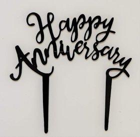 SURSAI Black Unique Design Happy Anniversary Cake Topper for Decoration Pack of 1