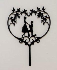 SURSAI Black Couple Propose Heart Design Cake Topper for Decoration Pack of 1
