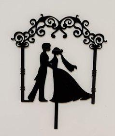 SURSAI Black Couple Wedding Design Cake Topper for Decoration Pack of 1