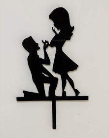 SURSAI Black Couple Propose Design Cake Topper for Decoration Pack of 1