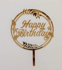 SURSAI Mirror Golden Round Design Happy Birthday Cake Topper for Decoration Pack of 1