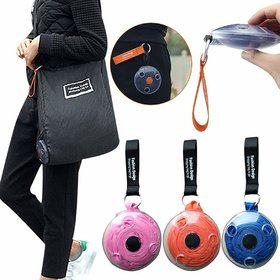 Foldable Roll Up Polyester Shopping Tote Bag, Reusable Space Saving with Plastic Round Box, Eco-Friendly Shopping Bag