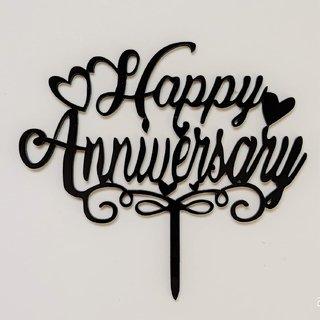 SURSAI Black New Design Happy Anniversary Cake Topper for Decoration Pack of 1