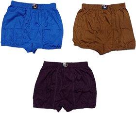 Men's Long Cotton Inner Wear Cotton Brief Gents Full Trunks for Boys(Multicolor,Pack of 3)