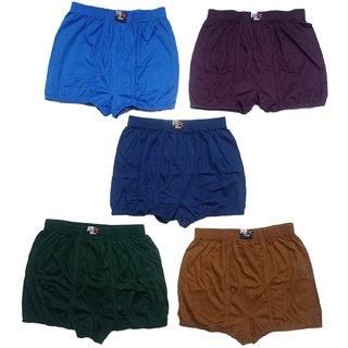Men's Long Cotton Inner Wear Cotton Brief Gents Full Trunks for Boys(Multicolor,Pack of 5)
