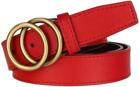 SUNSHOPPING Women Red Casual Synthetic Belt