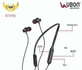 Ubon BT-5100 BASS-FACTORY BLUETOOTH HEADSET WIRELESS NECKBEND ( BLACK )
