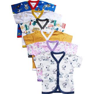 MD Baby's Galaxy Hosiery Cotton Fron Open Half sleeves Jhabla Vest-Tshirt Multi-ColouredSet Of 6