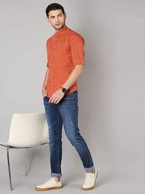 Singularity Clothing Chinese Collar Shirt in Orange