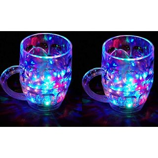 Rainbow Magic Color Cup with LED Light Party Mug,Capacity 250 ml Pack of 2