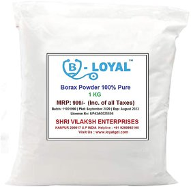 Loyal Borax Powder,100 Pure with Whitening  Cleaning Power (1 Kg, White)