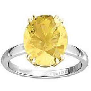 7.25 Carat Natural Panchdhatu Certified Yellow Sapphire Silver Ring by Ratan Bazaar