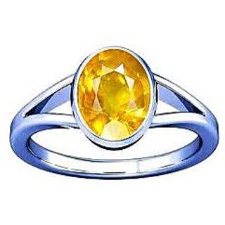 9.25 Ratti Natural Certified Yellow Sapphire Panchdhatu Silver Ring by Ratan Bazaar
