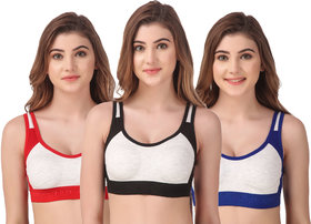Non Padded Daily Workout Sports Gym Bra Combo- Pack of 3
