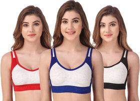 Red, Blue, Black Color Workout Sport Bra Pack of 3