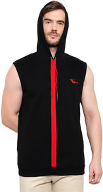 Glito Black Hooded Sleeveless Sweat Shirt with Side Pocket