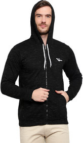 Glito Black Hooded Full Sleeve With Front Zip Open  Side Pocket Sweat Shirt For Men