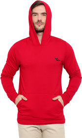 Glito Solid Red Hooded Full Sleeve With  Side Pocket Sweat Shirt For Men