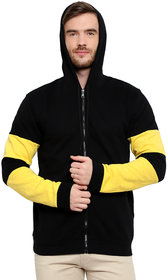 Glito Black  Yellow Hooded Sweat Shirt With Pocket