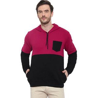 Glito Black  Maroon Fleece Color Block Sweat ShirtWith Front Pocket For Men-Full