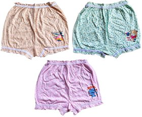 Fashionable Cliq Pure Cotton Multicolor Bloomer For Girls Pack of 3