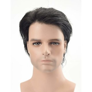 Elegant Hairs Men Toupee 100 Original Human Hair Patch Hair Replacement System Fine Monofilament Wigs For Men  Boys  Hair Toupee (8x6, Natural Black).