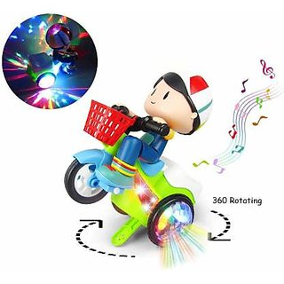 Universal Dancing, Moving 360 Rotating Tricycle Boy Toy With Attractive Music  3D Light  (Multicolor)