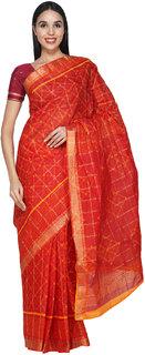 Snappy Dresser's Women's Red Rajasthani Pure Cotton Ghatchola Saree